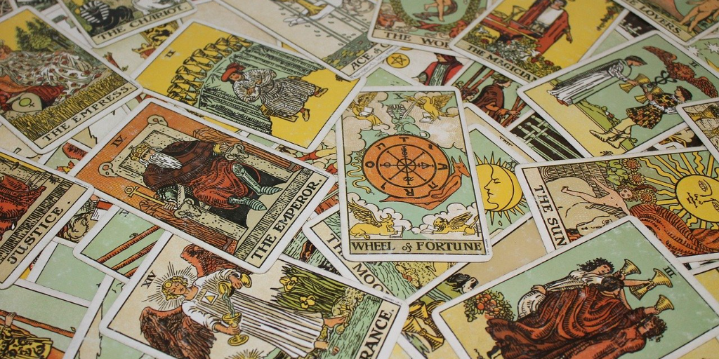 Tarot cards laying face up on the table