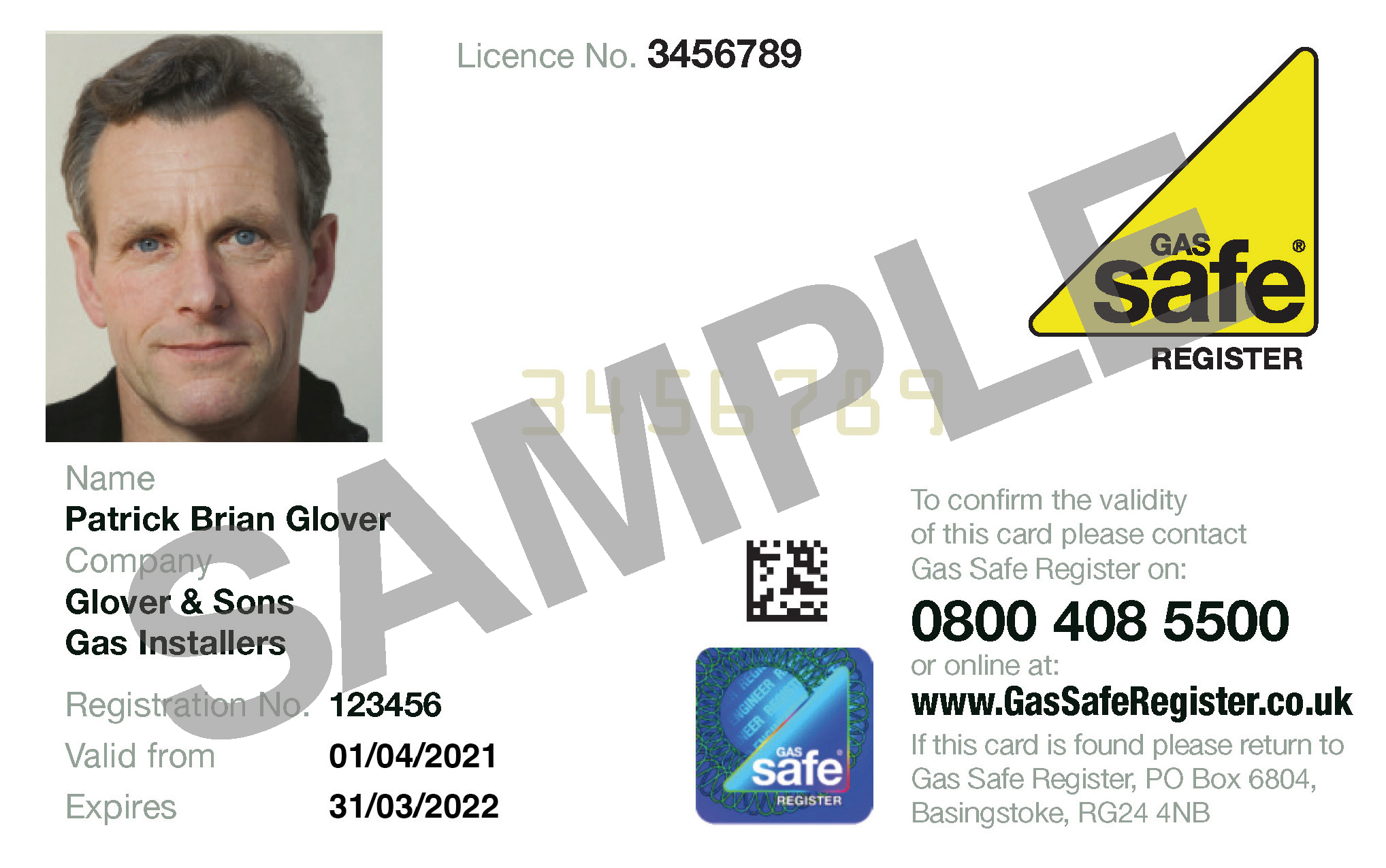 Example of the front of a Gas Safe ID card.