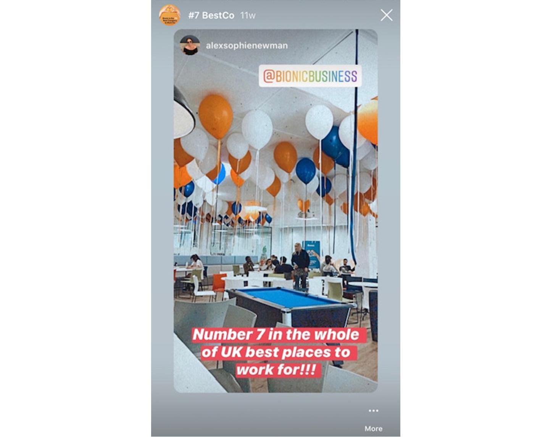 Bionic Instagram post