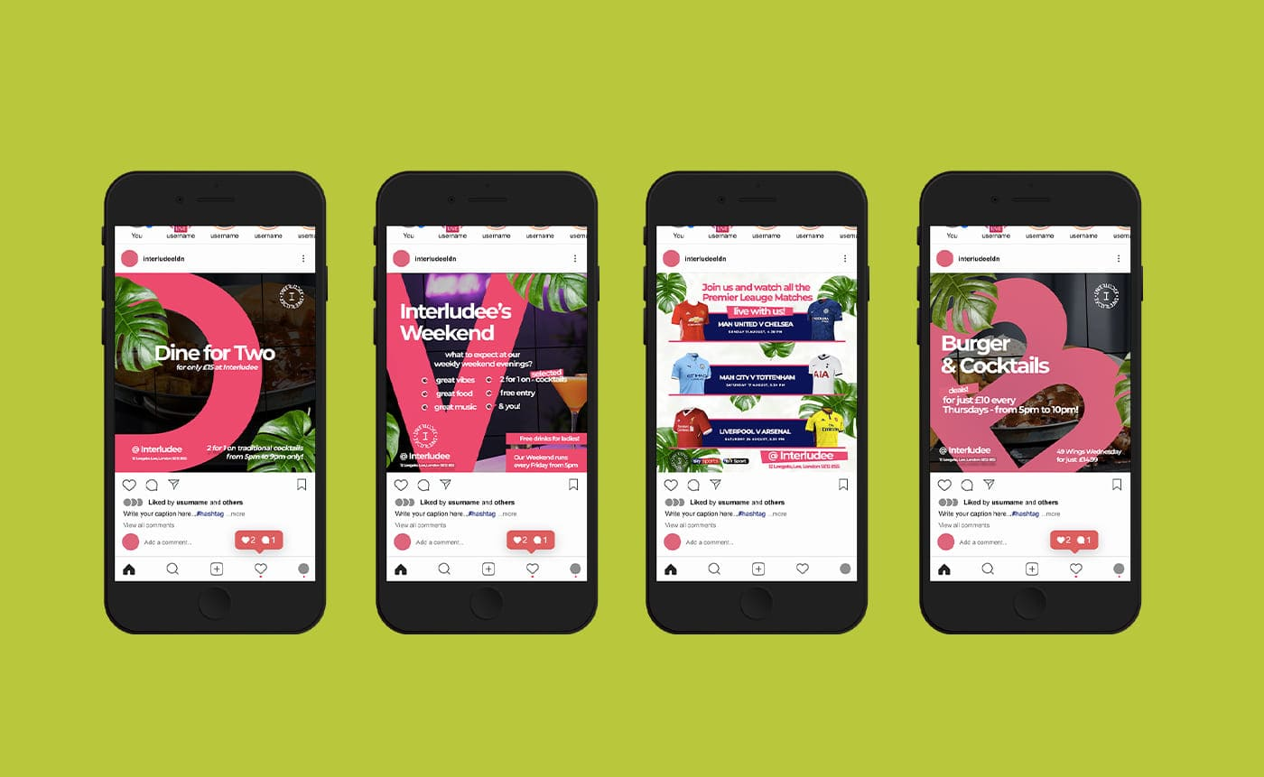 Four smartphones showing examples of BYTMXG graphic design