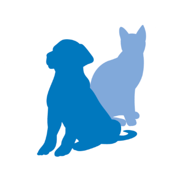 Blue silhouette of a dog and cat