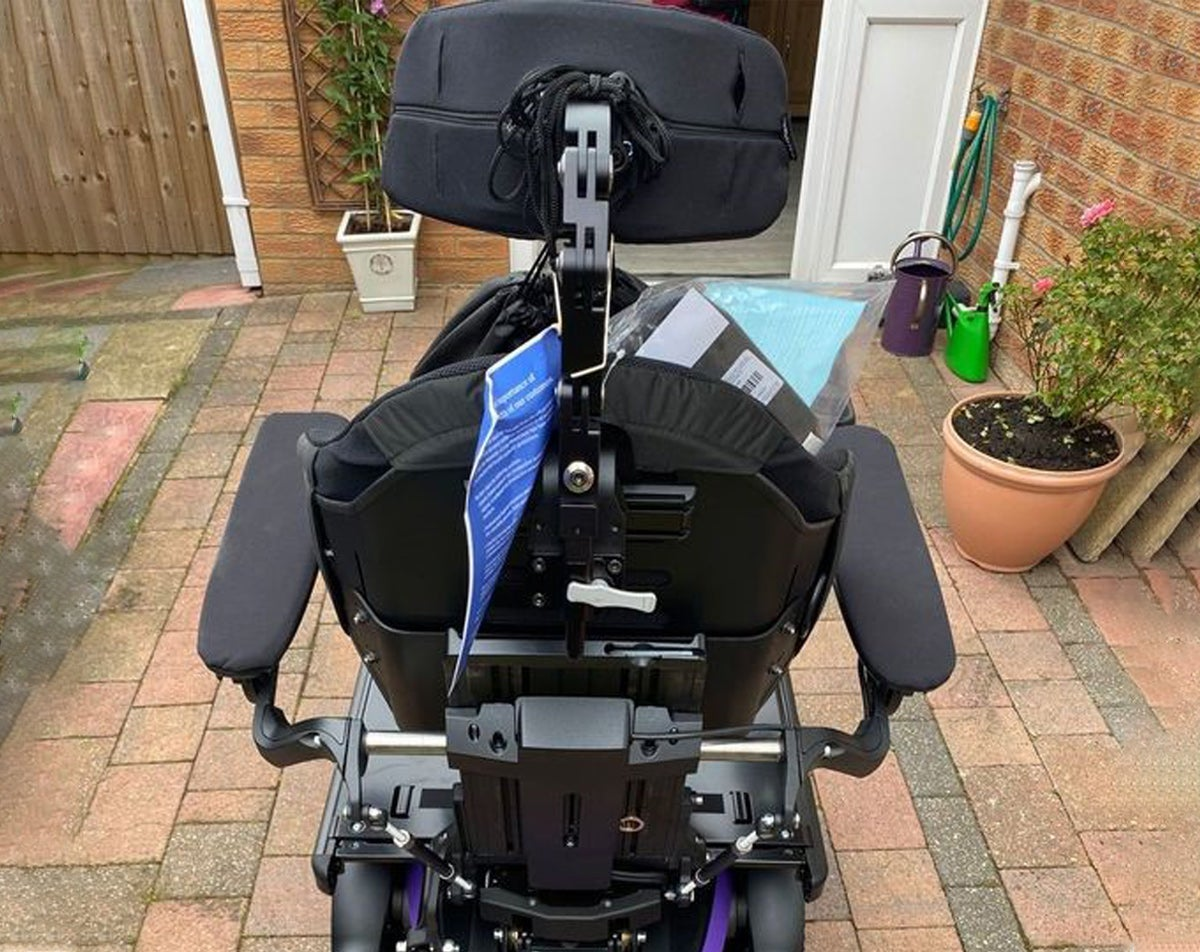 The back of the new Permobil wheelchair