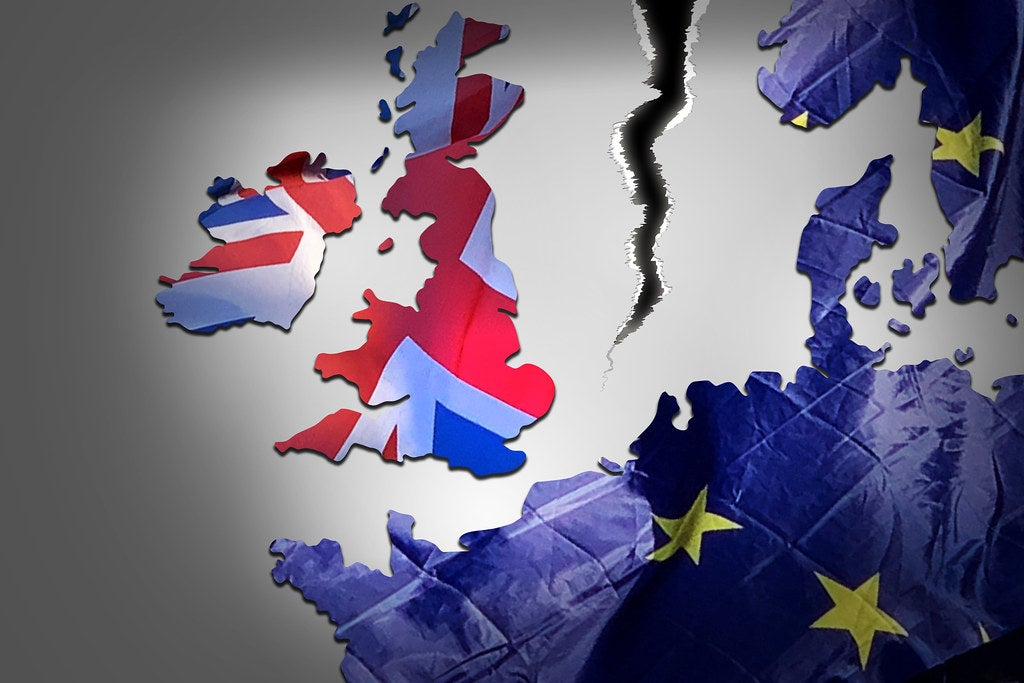 A map showing a tear between the United Kingdom and the EU