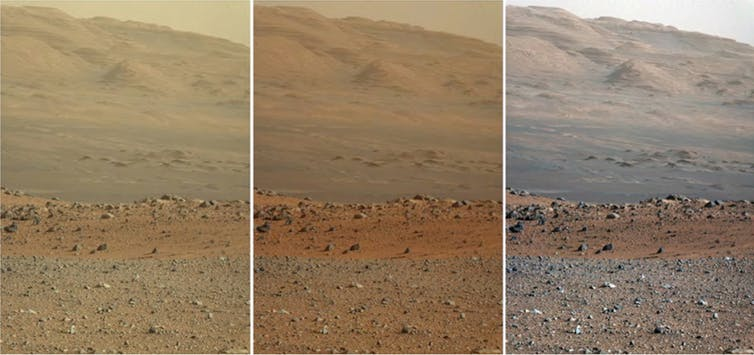 Three versions of the same view on the surface of Mars from NASA's Curiosity rover. Left: unprocessed. Middle: adjusted to how human eyes would see it. Right: how it would look under Earth-like lighting conditions (note how the colour of the sky has changed) NASA/JPL-Caltech/MSSS