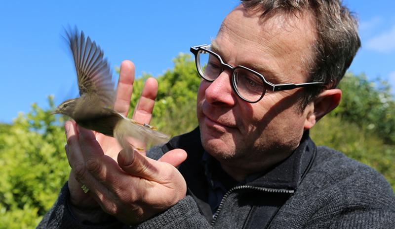 Hugh Fearnley-Whittingstall releasing bird on Hugh's Wild West