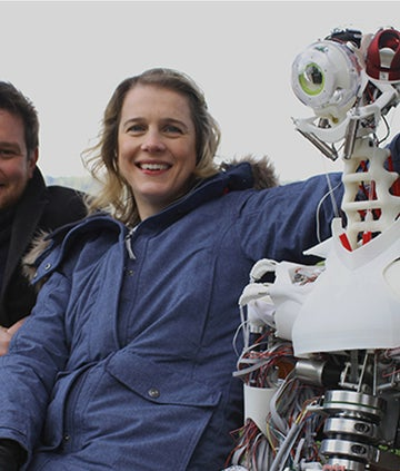 ben and Danielle with a robot