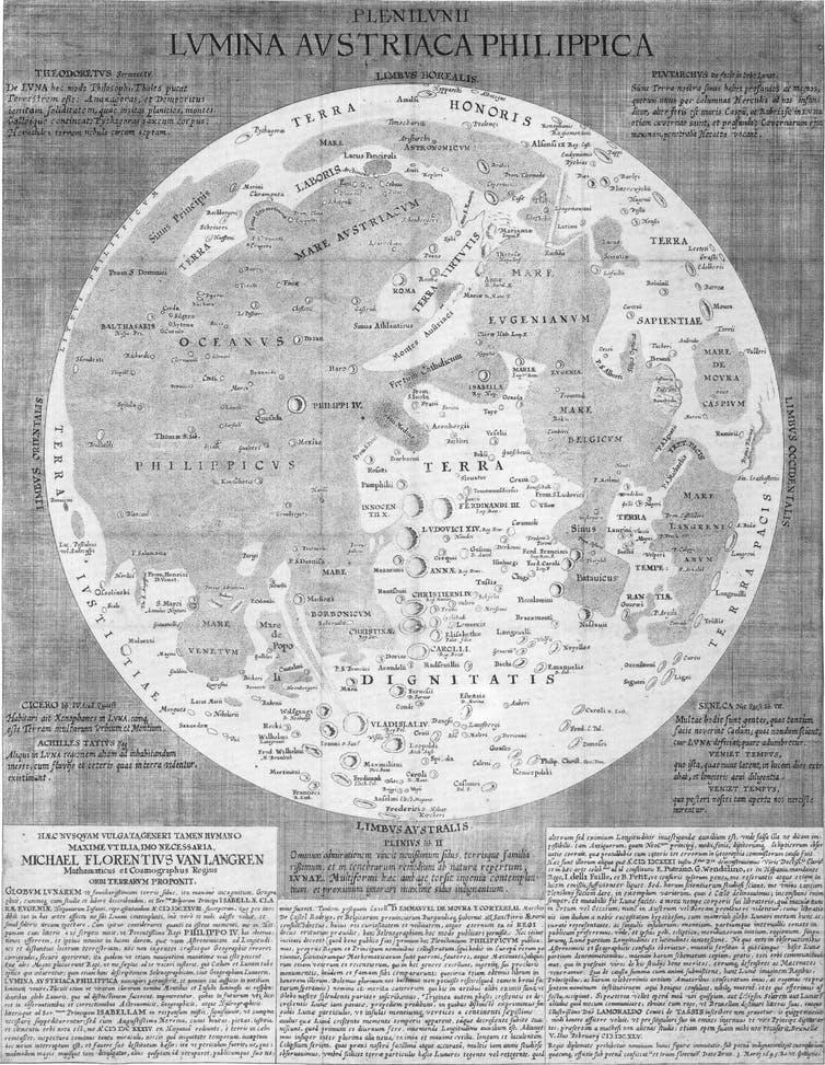 Map of the Moon by Michael van Langren (1655). wikipedia
