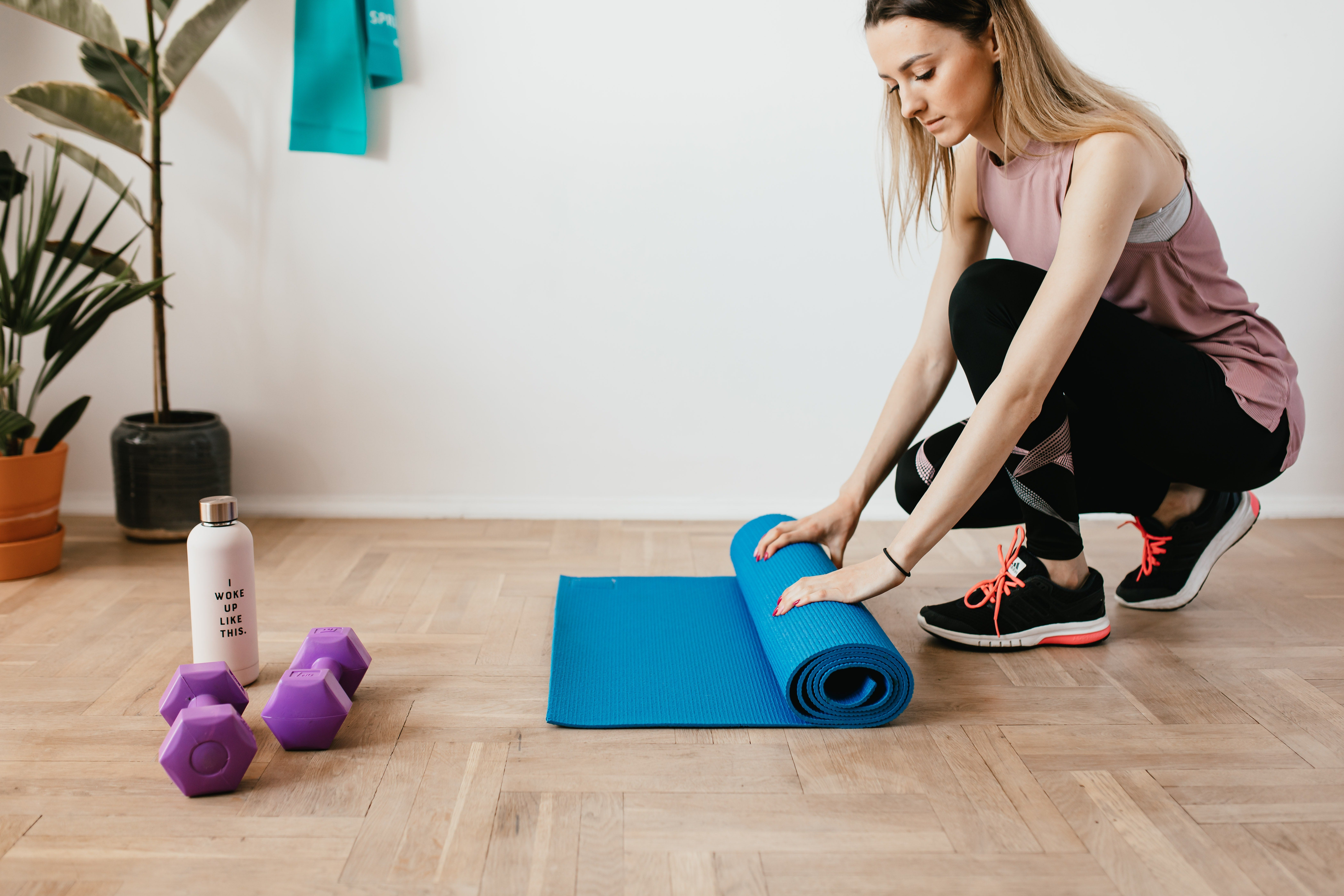 Woman getting ready to exercise