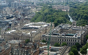 A photo of London from the air, focusing on the Foreign and Commonwealth Office building