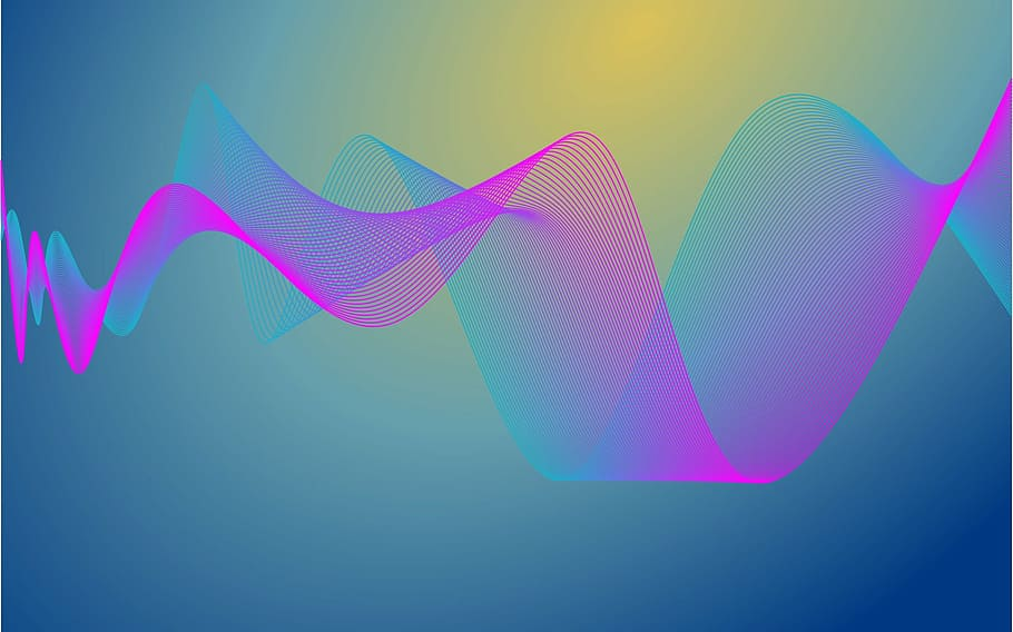 A pink and blue graphic representation of sound waves