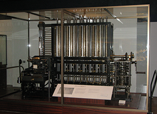 A photograph of the difference engine