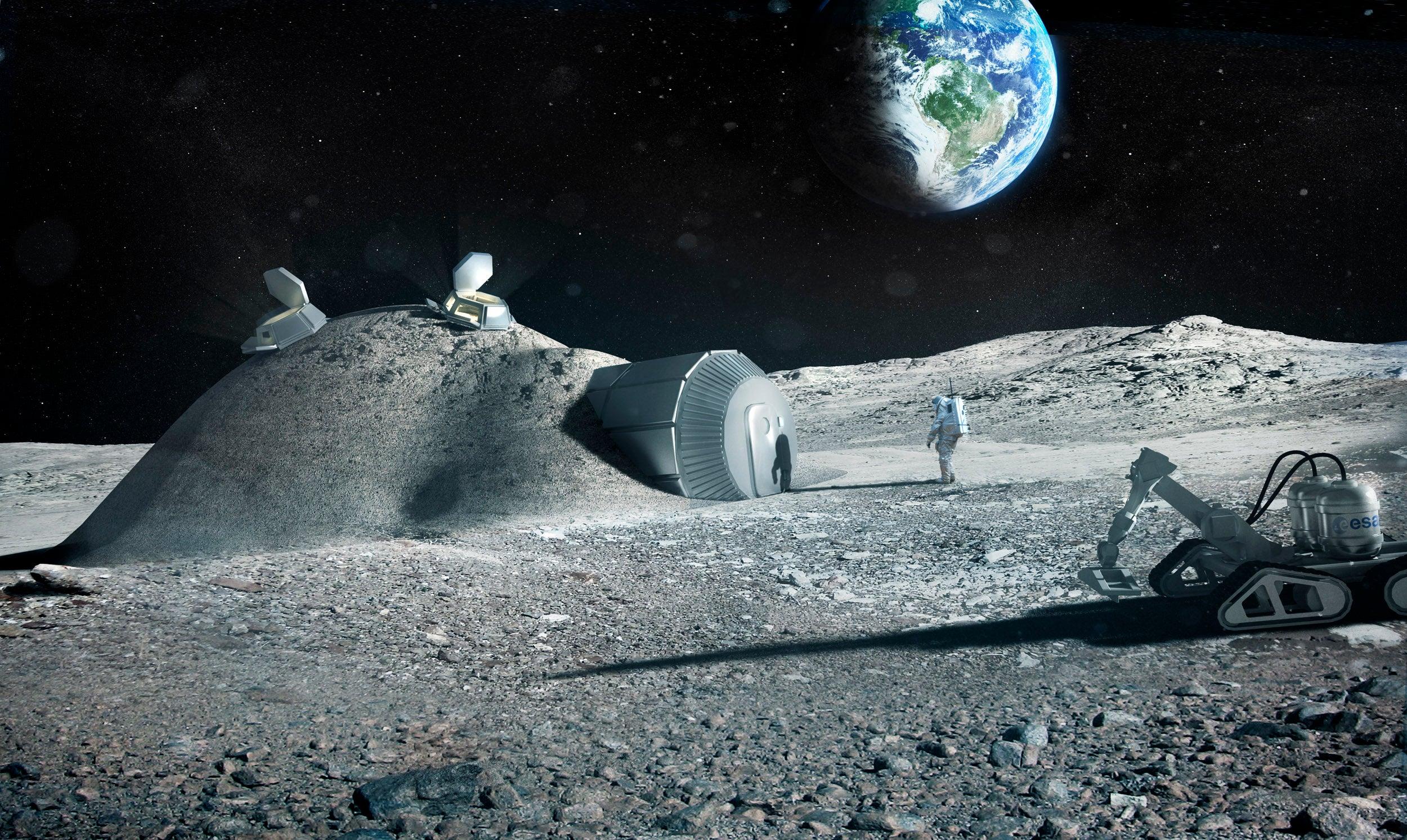 ESA impression of a Lunar base made with 3D printing pillars