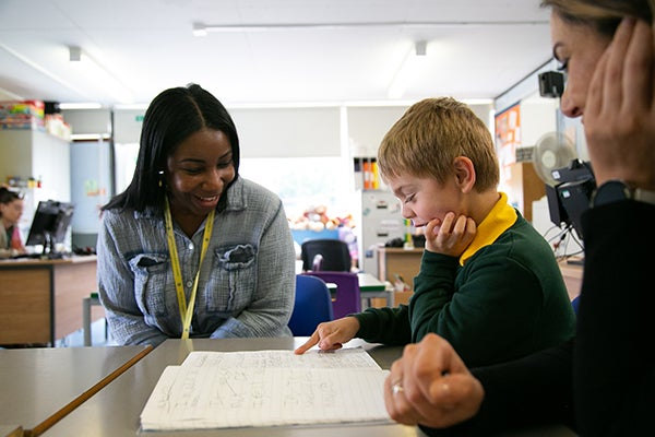 Marie Gentles works with a teach and pupil. Don't Exclude Me. Copyright BBC