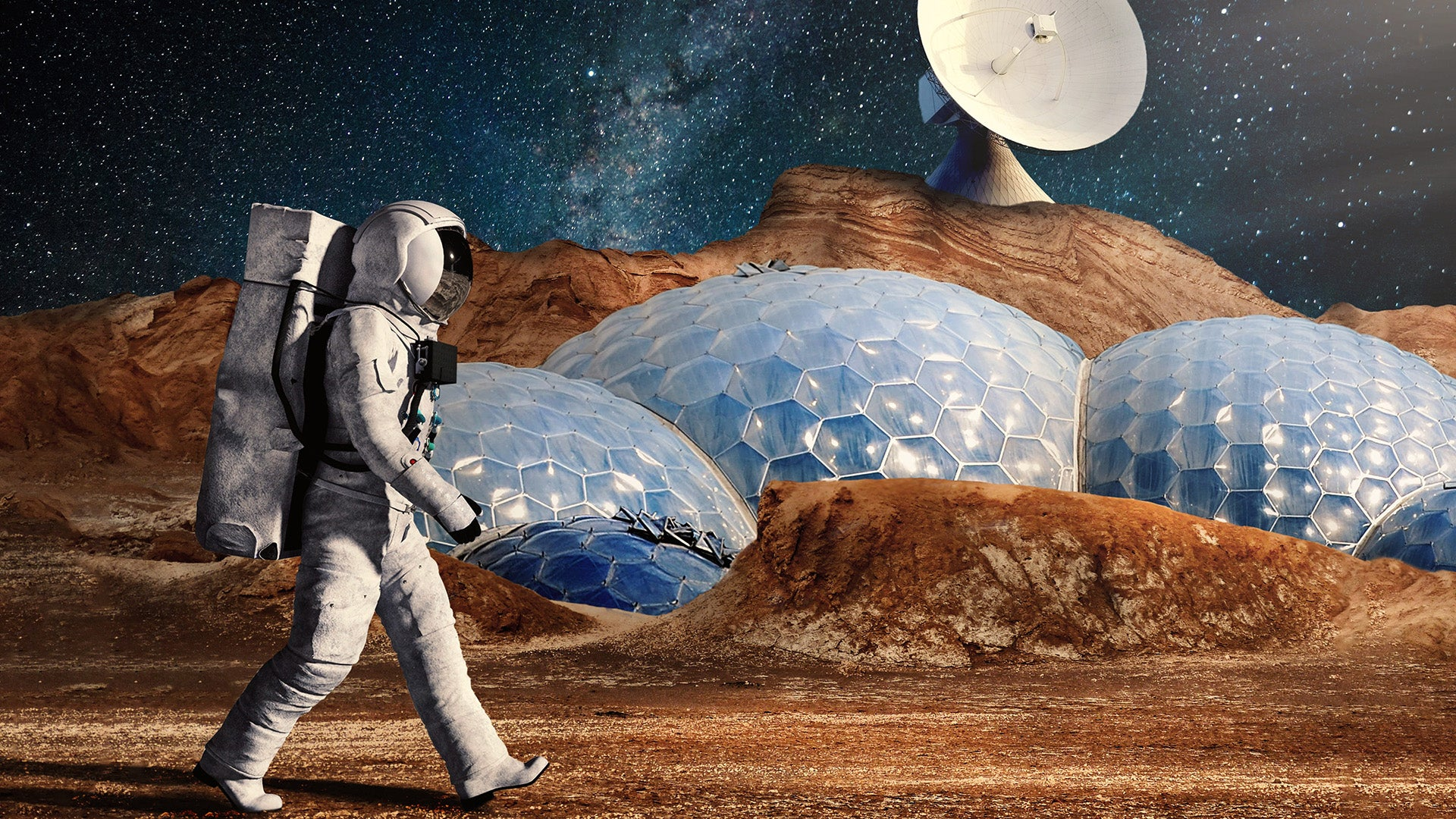 A futuristic impression of an astronaut walking past an artificial colony on another planet