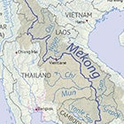 An image of a map showing the route of the Mekong River