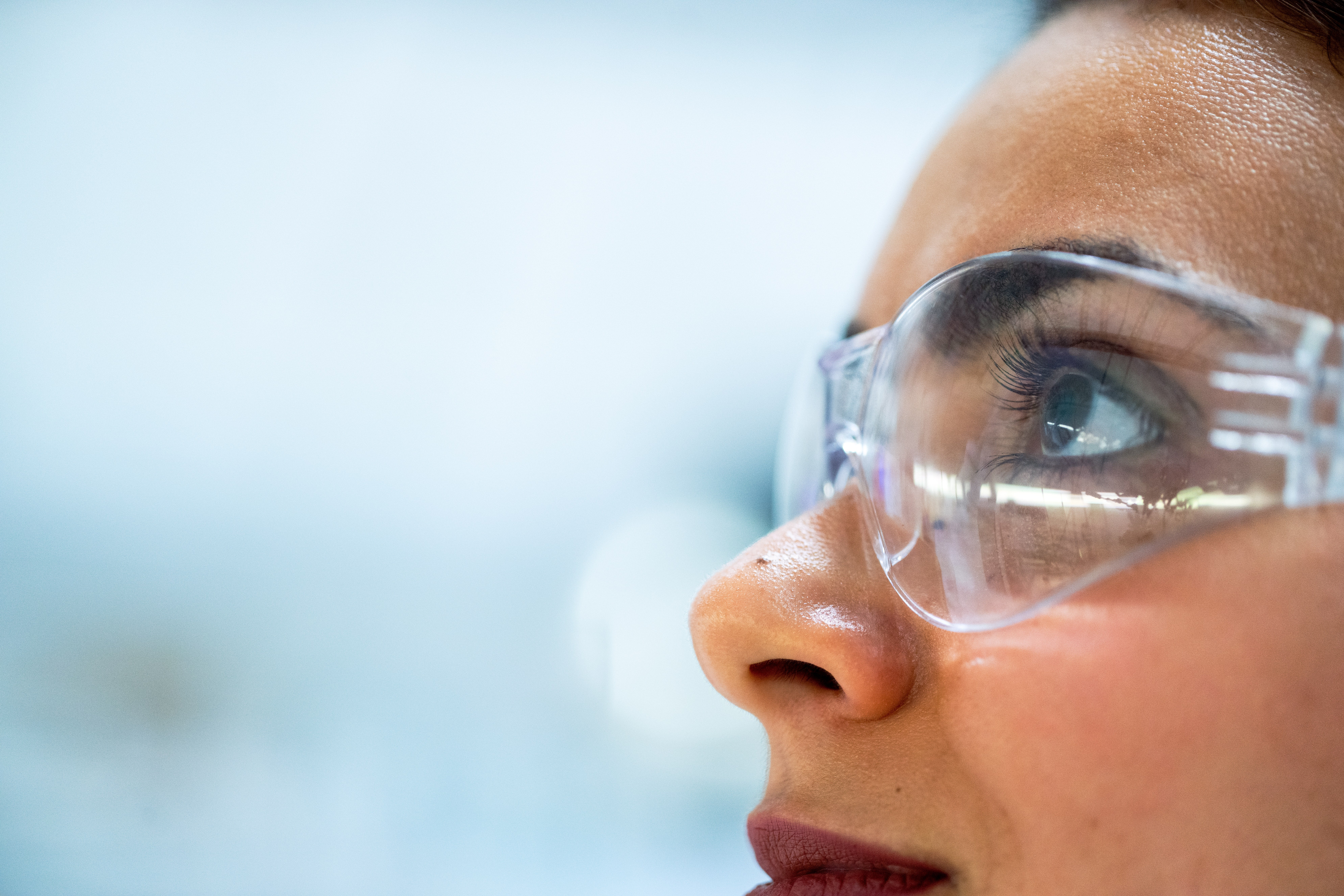 A female scientist looking
