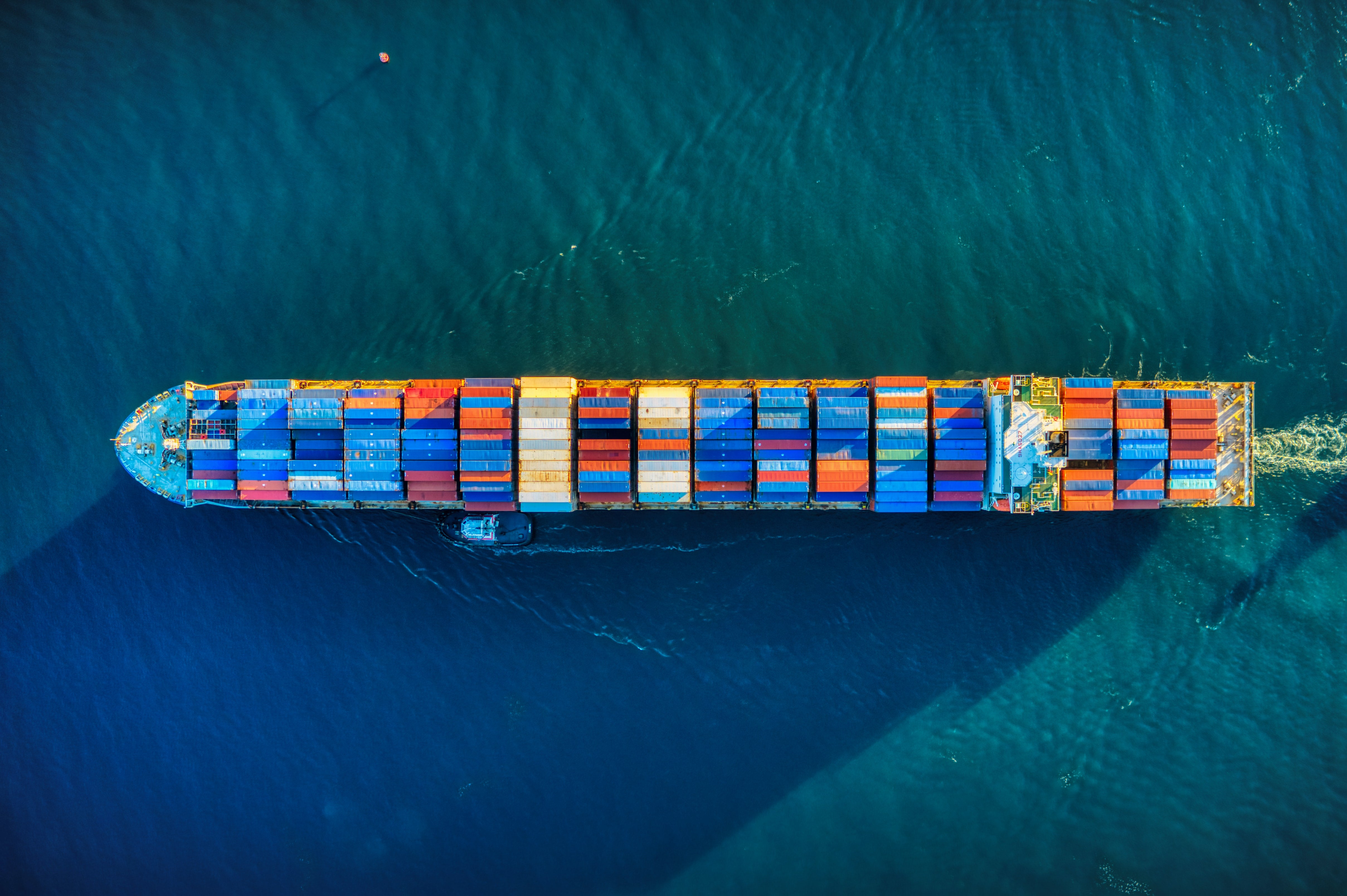 Cargo ship at sea from above