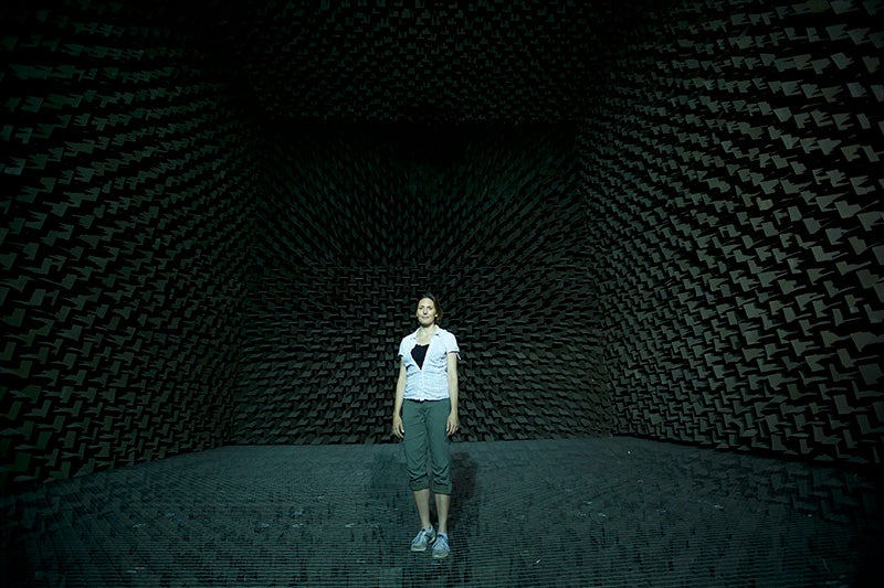 Helen Czerski in a sound chamber for soundwaves series BBC/OU