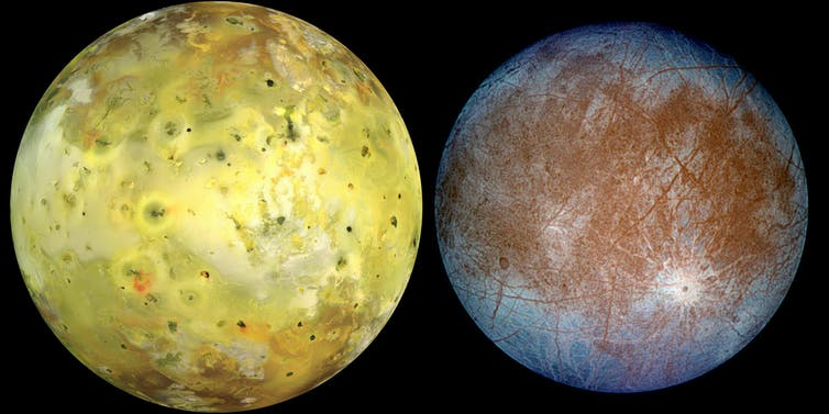 Left: Io in natural colour. Right: Europa, in exaggerated false colour to accentuate the difference between 'clean' ice (blue) and 'dirty' ice (red). NASA/JPL/University of Arizona/DLR