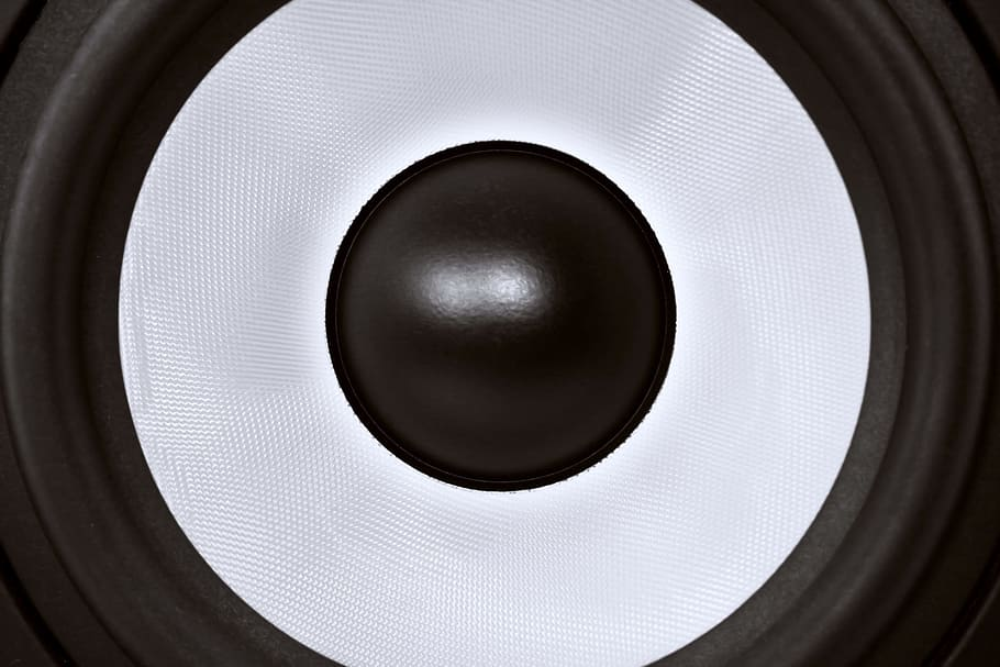 A close-up of the audio cone like you would find in a set of speakers