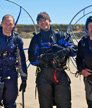 Simon Reeve in Ireland with two paramotorists
