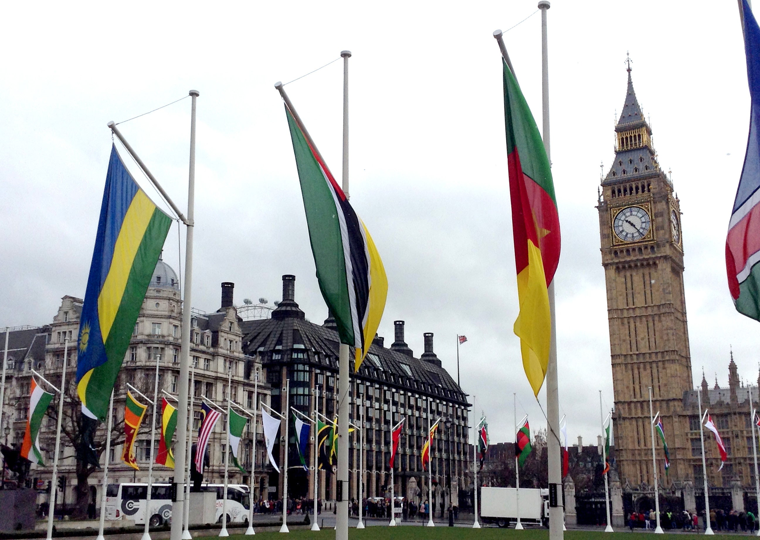Flags of the Commonwealth outside the Houses of Parliament in London