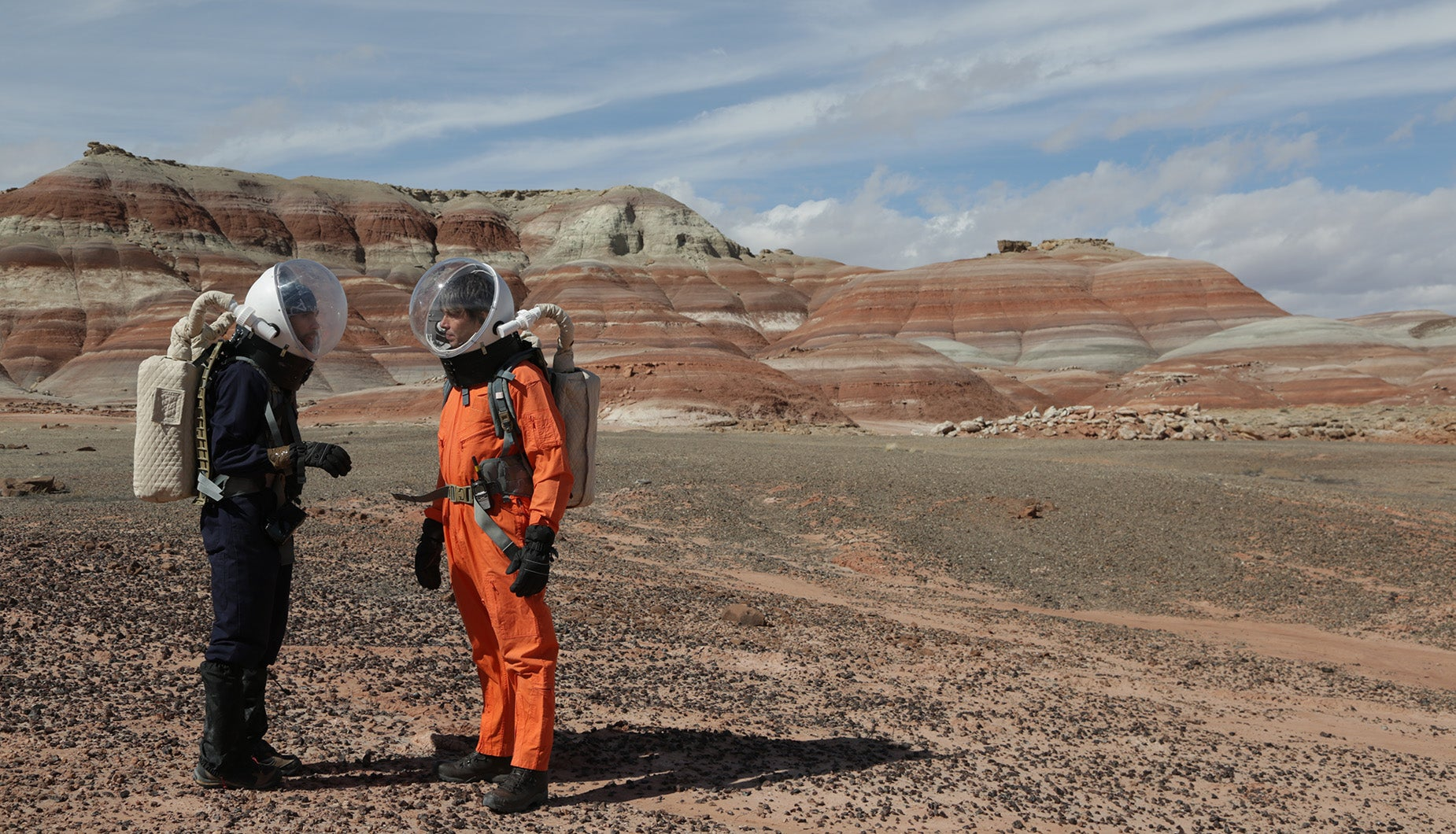 Brian Cox and Commander Arthur Lillo at the Mars research station, Utah