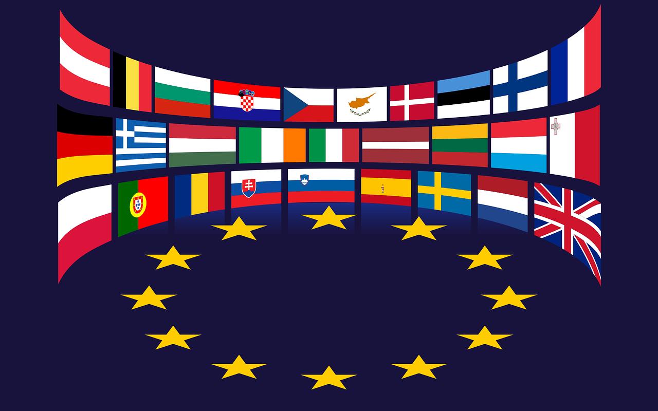 The flags of the EU countries surrounding the EU stars