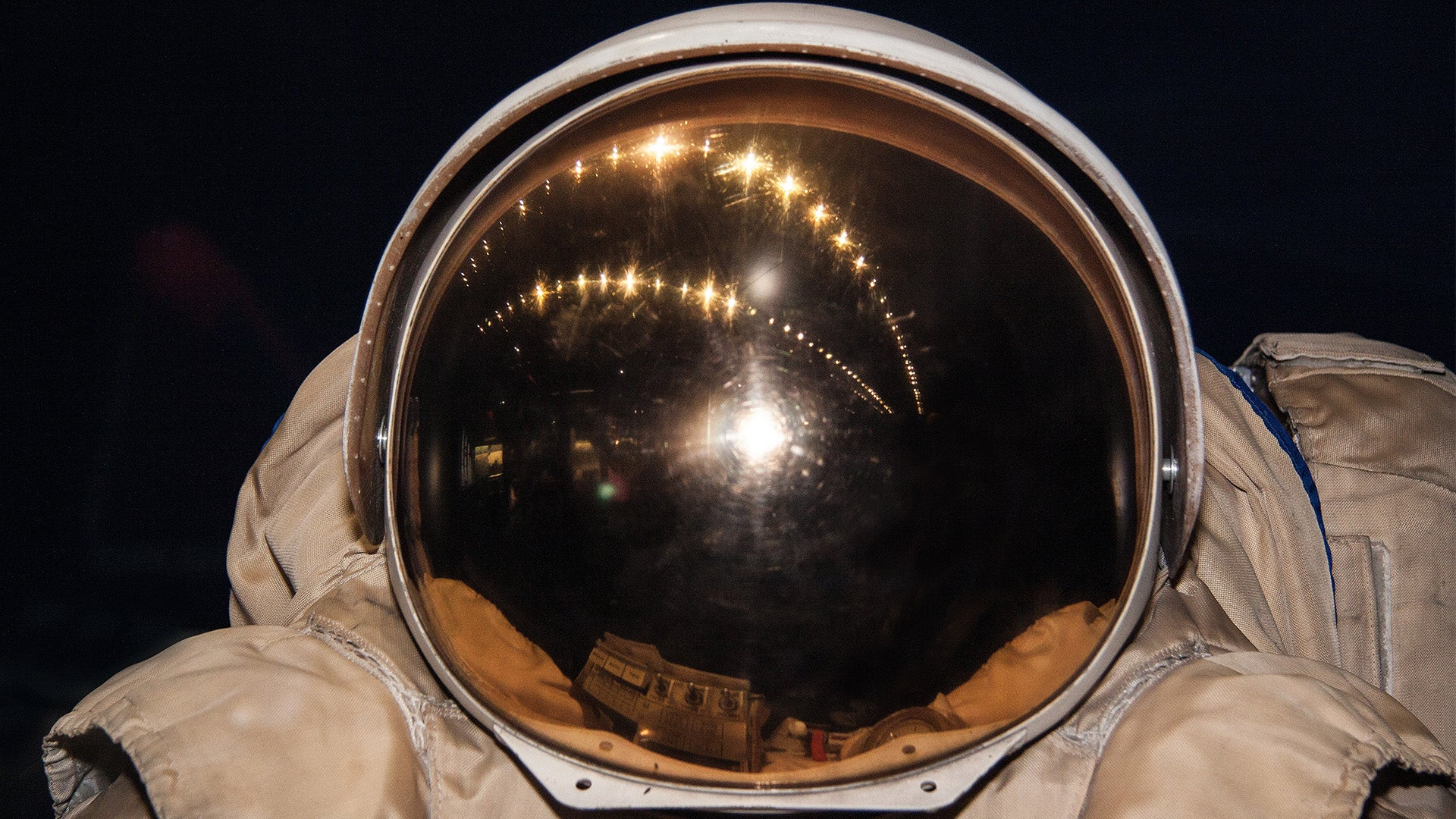 A close-up picture of an astronaut's helmet