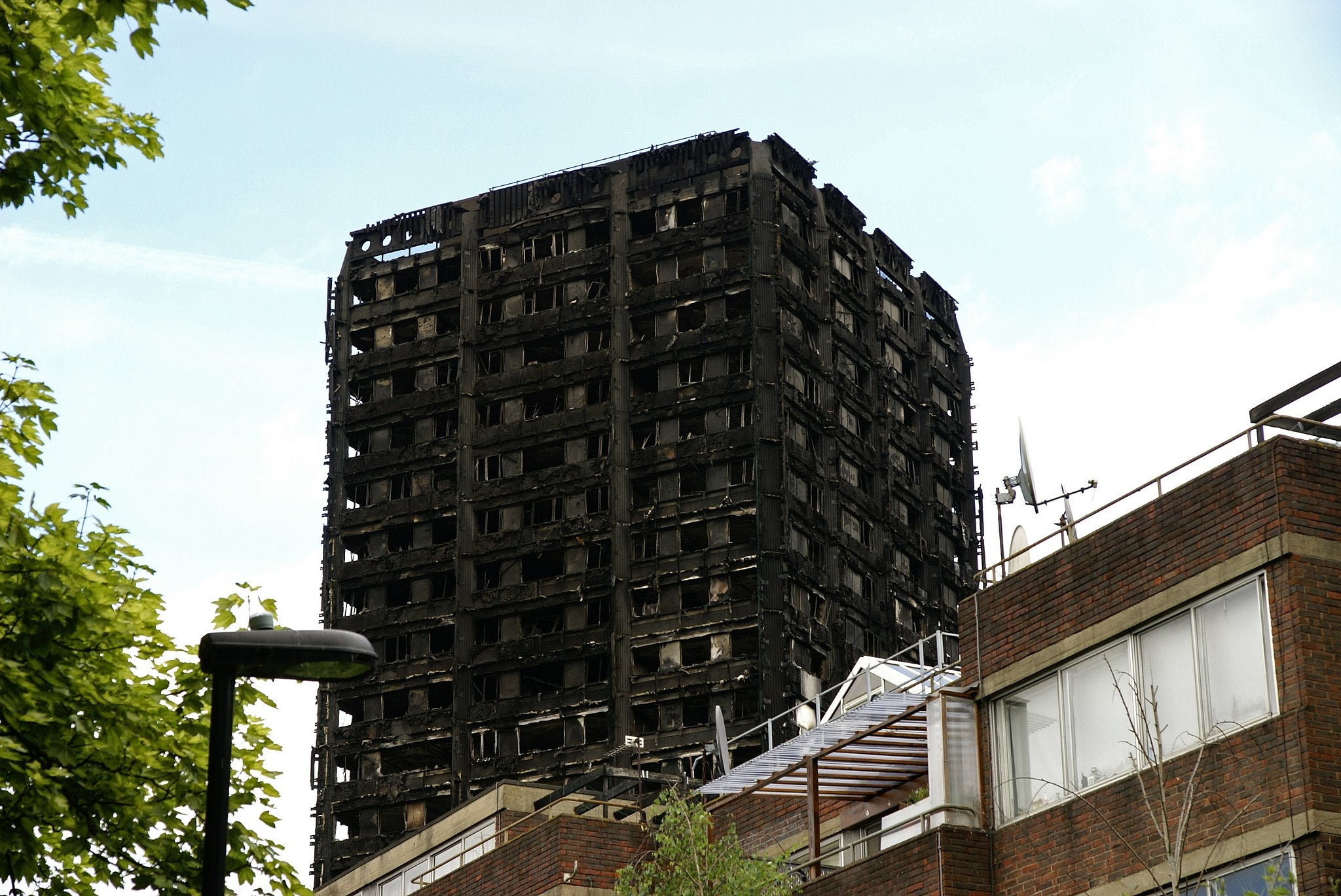 The top of Grenfell Tower, after the fire