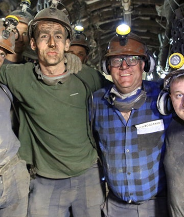 Ed Balls with miners in Poland