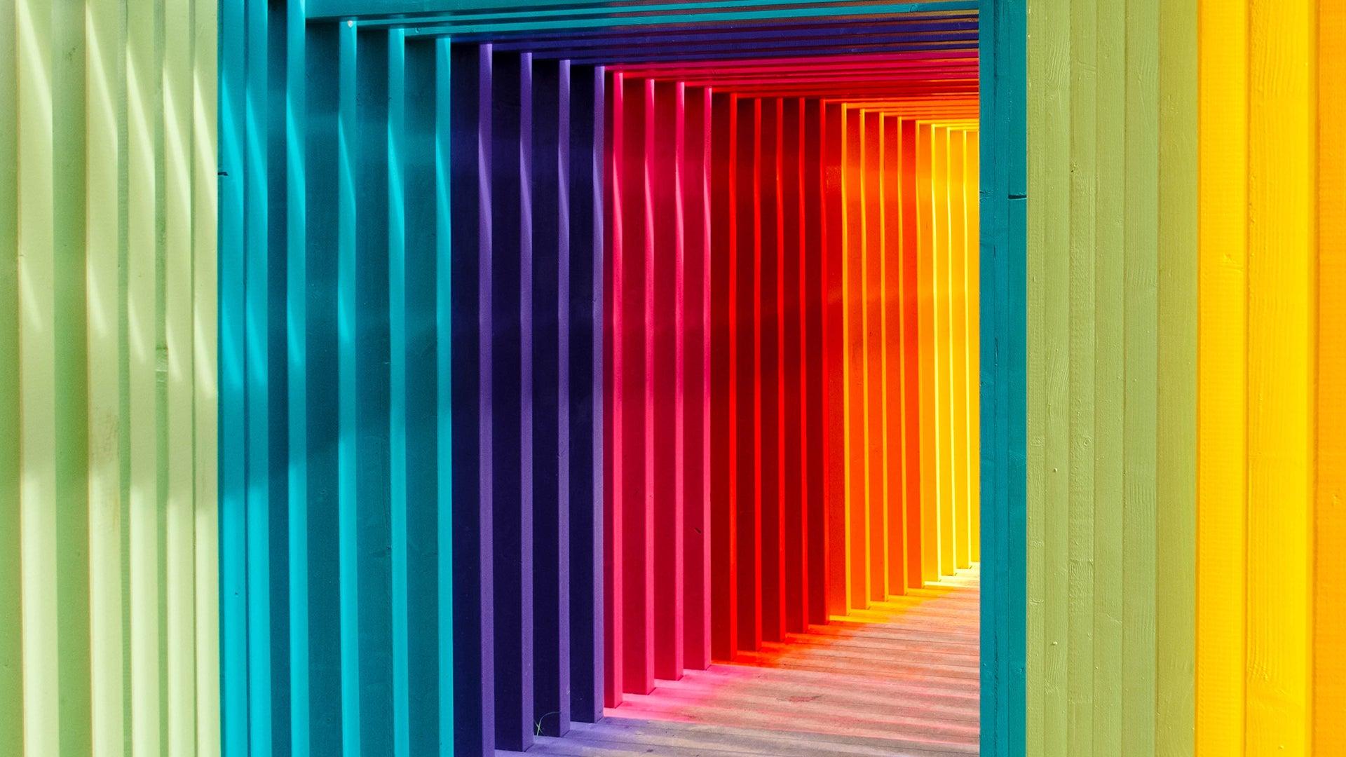 A corridor made up of multicoloured walls