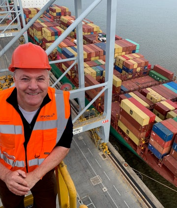 Ed Balls on a crane at the docs, BBC What Britain Buys and Sells In A Day