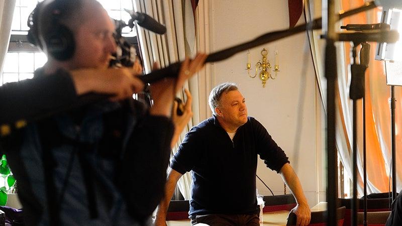 Ed balls with camera crew - Euroland
