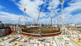 A picture of Hinkley Point C - a power plant - while under construction