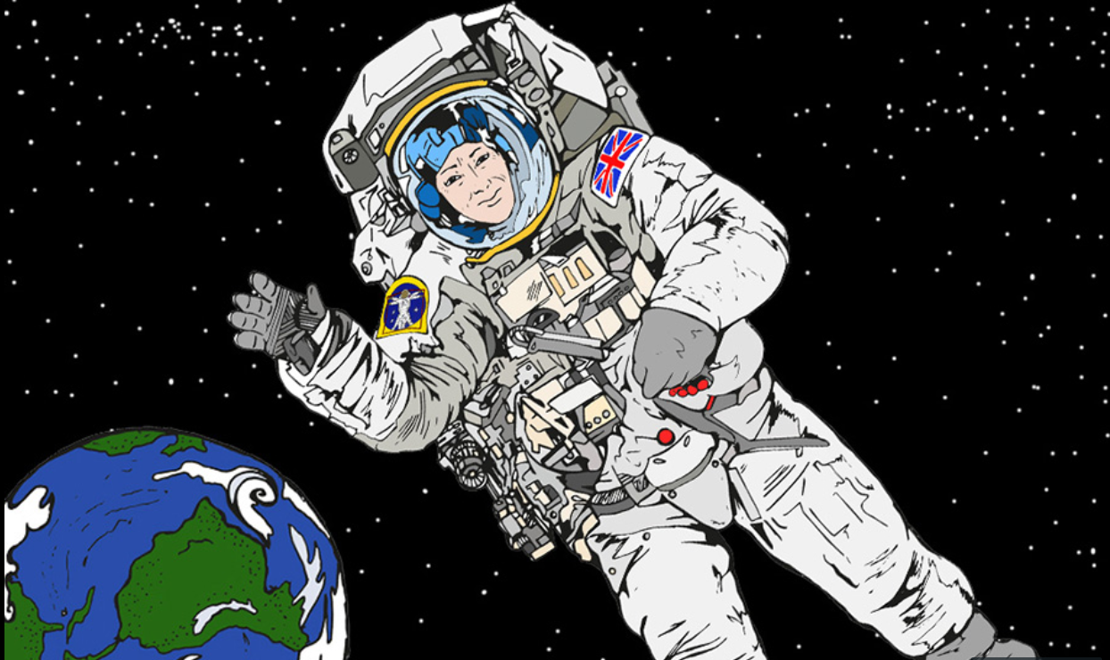 An illustration of an astronaut in space, with the earth visible in the background behind them