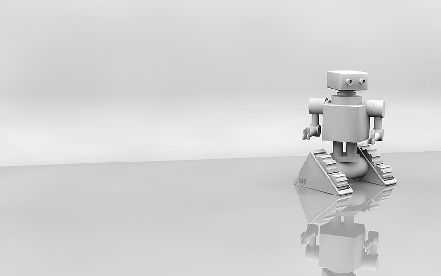 A CGI robot with an angular shaped head and body on motorised wheels