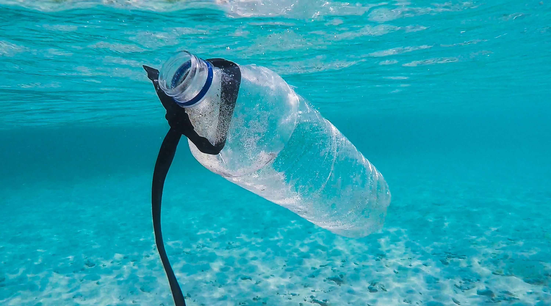 A plastic bottle floating in the ocean
