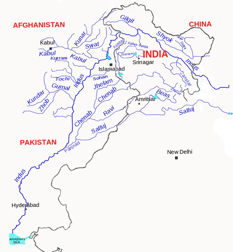 A basic map showing the confluence of water sources across India, Pakistan, and other surrounding regions