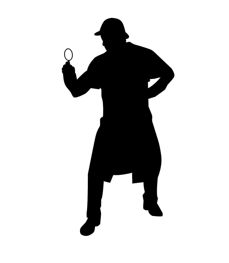 """An illustration depicting the shape of a stereotypical """"inspector"""" figure, holding a magnifying glass"""