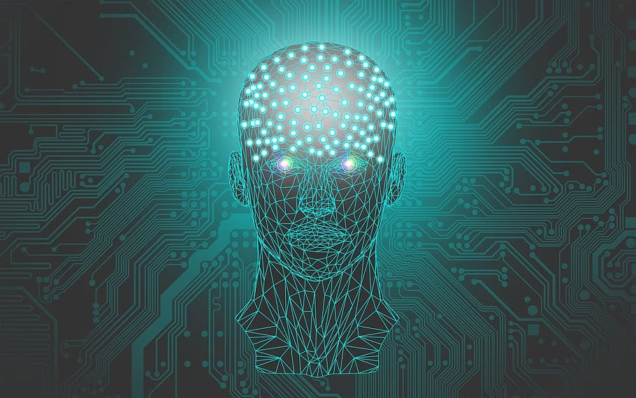 An artistic impression of an artificial intelligence avatar.