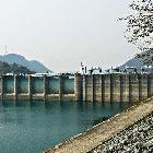 A photograph of a manmade dam