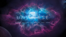 A title card for The Universe, against the backdrop of a galaxy.