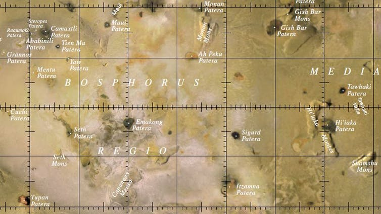 A map of part of Io, with names added. USGS