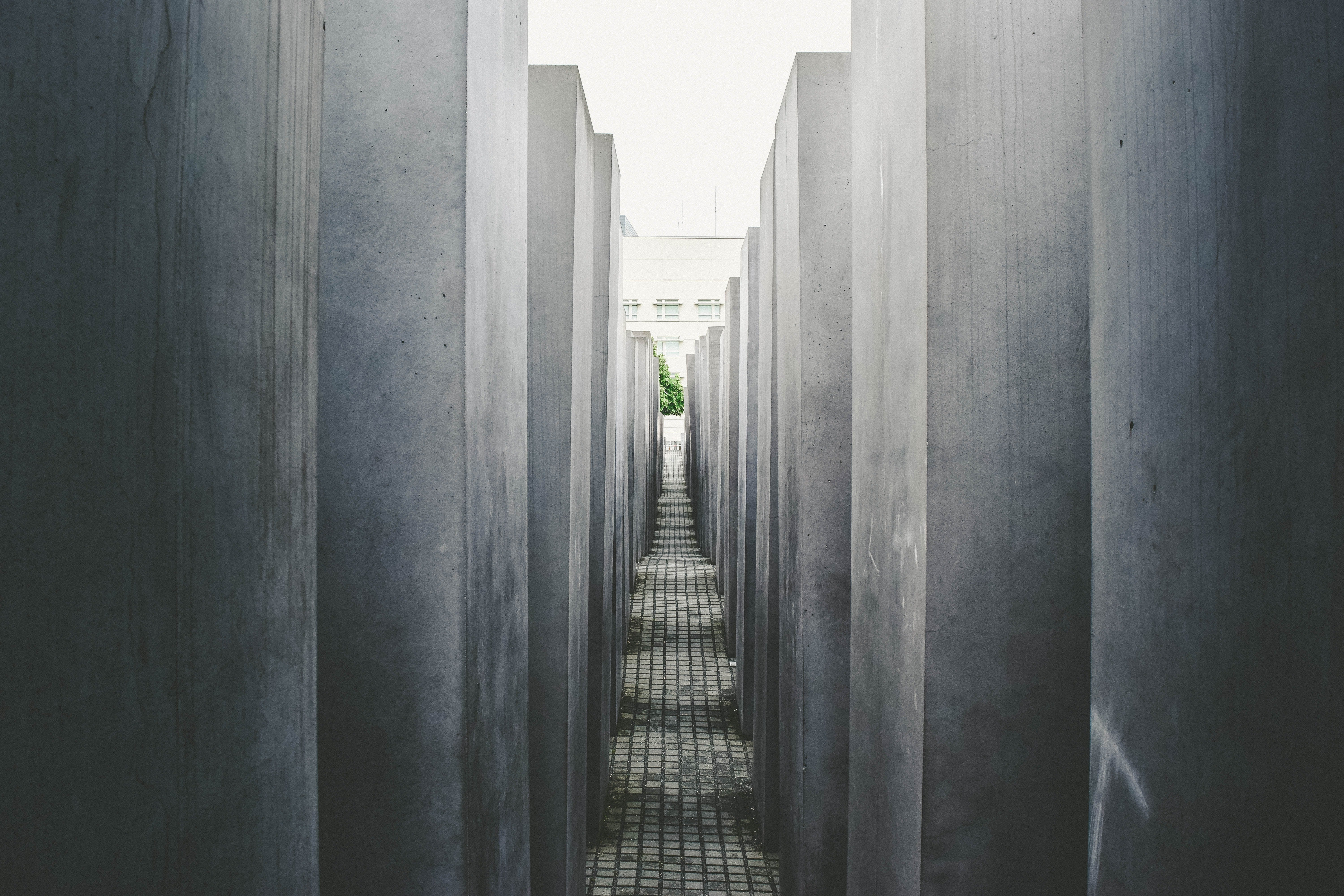 A picture taken between the columns of the Memorial to the Murdered Jews of Europe
