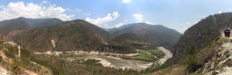 Dramatic topography in the Dangme Chu river valley, eastern Bhutan.