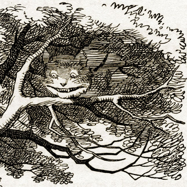 The cheshire cat vanishing (detail) in Lewis Carroll's Alice in Wonderland drawn by John Tenniel (1820-1914)