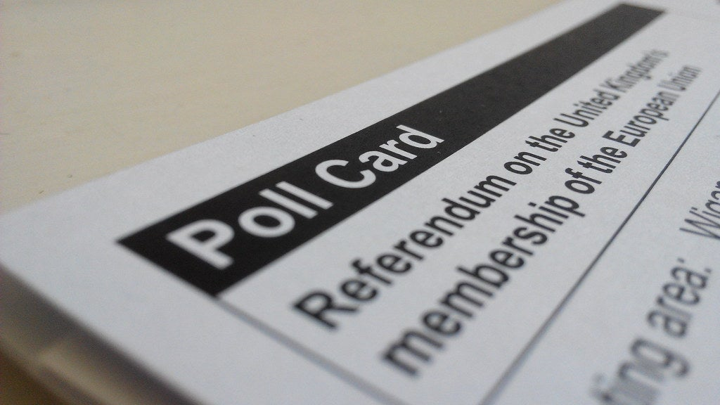 A poll card for the UK referendum on leaving the EU