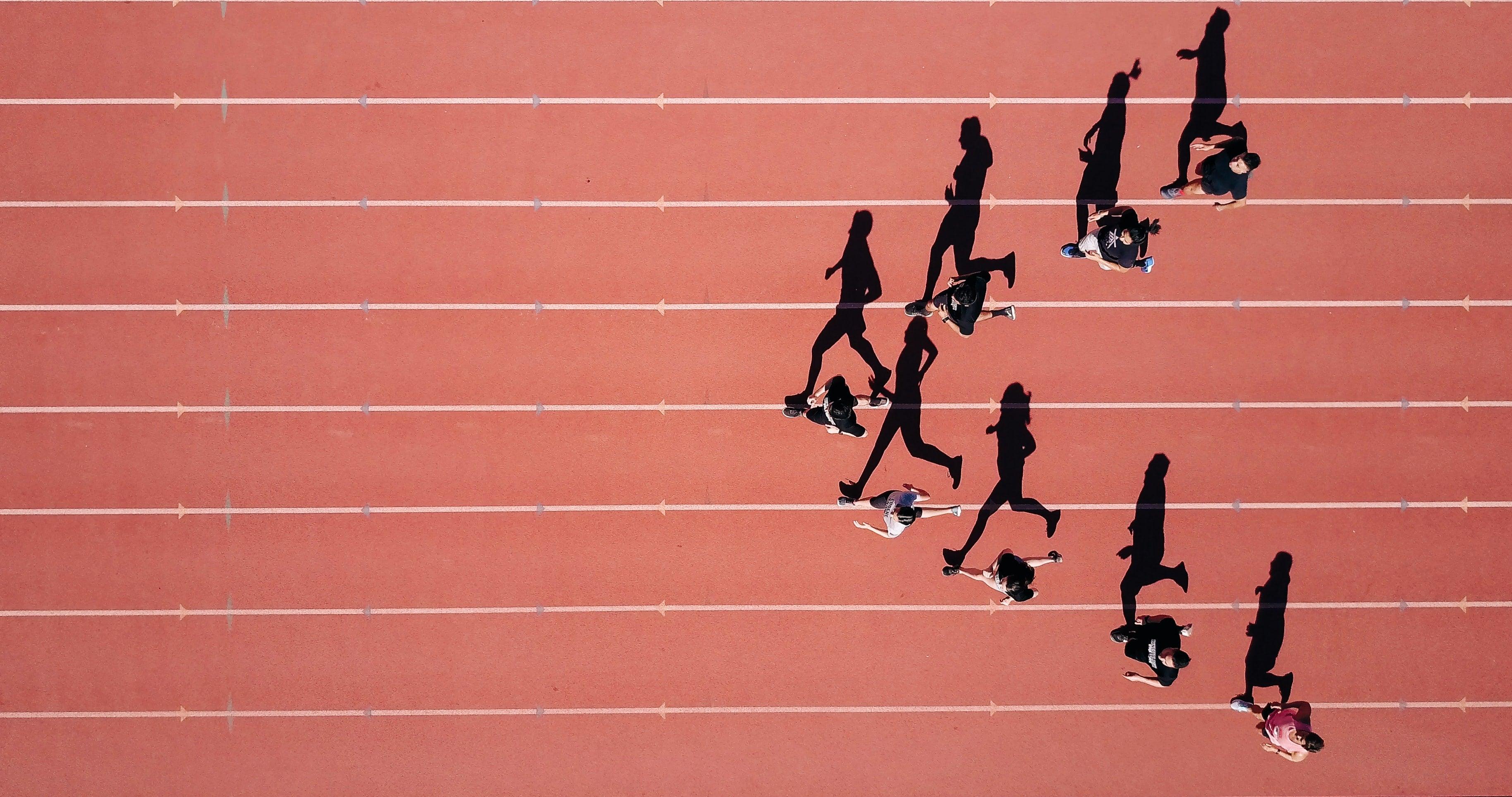 Track runners in V shape