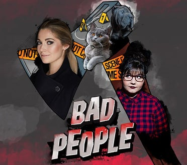 A promotional graphic for the podcast 'Bad People'
